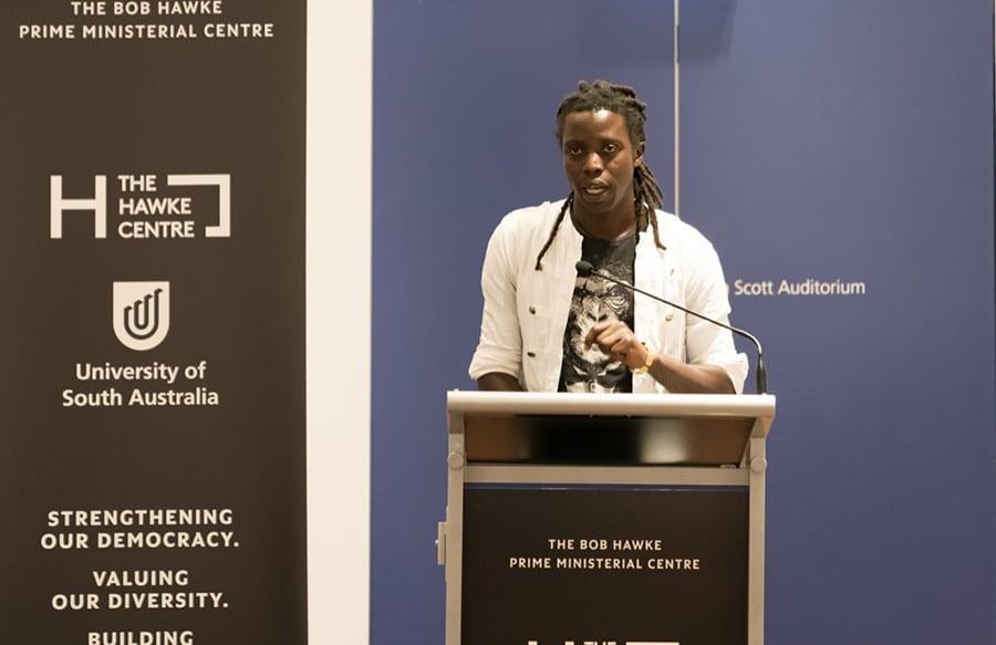 Onyis Martin at SANAA Exhibition 2018 Artist Talk Hawke Centre