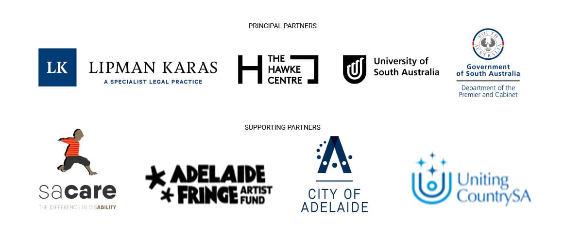 Sanaa sponsors, Principal Partners - Lipman Karas, Hawke Centre, UniSA, Government of SA, Supporting Partners, SA Care, Adelaide Fringe Artist Fund, City of Adelaide, United Country SA