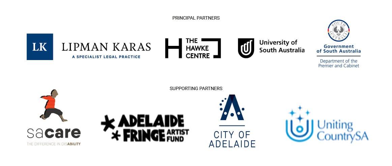 Sanaa sponsors, Principal Partners - Lipman Karas, Hawke Centre, UniSA, Government of SA, Supporting Partners, SA Care, Adelaide Fringe Artist Fund, City of Adelaide, United Country SA