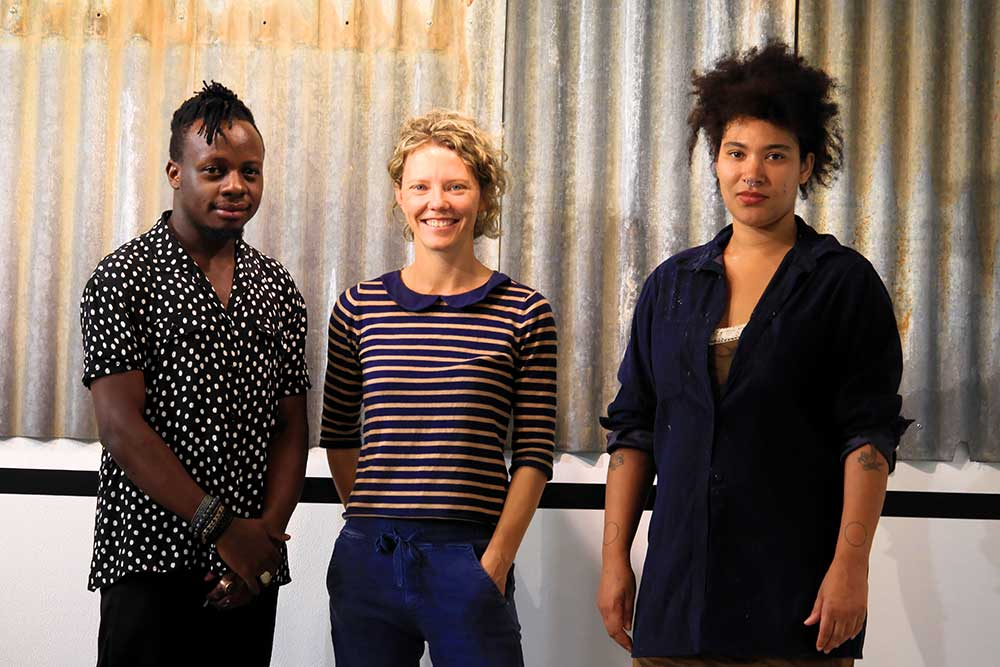 Artists Wamala and Tailor with Victoria, Sanaa Artist Residency 2020