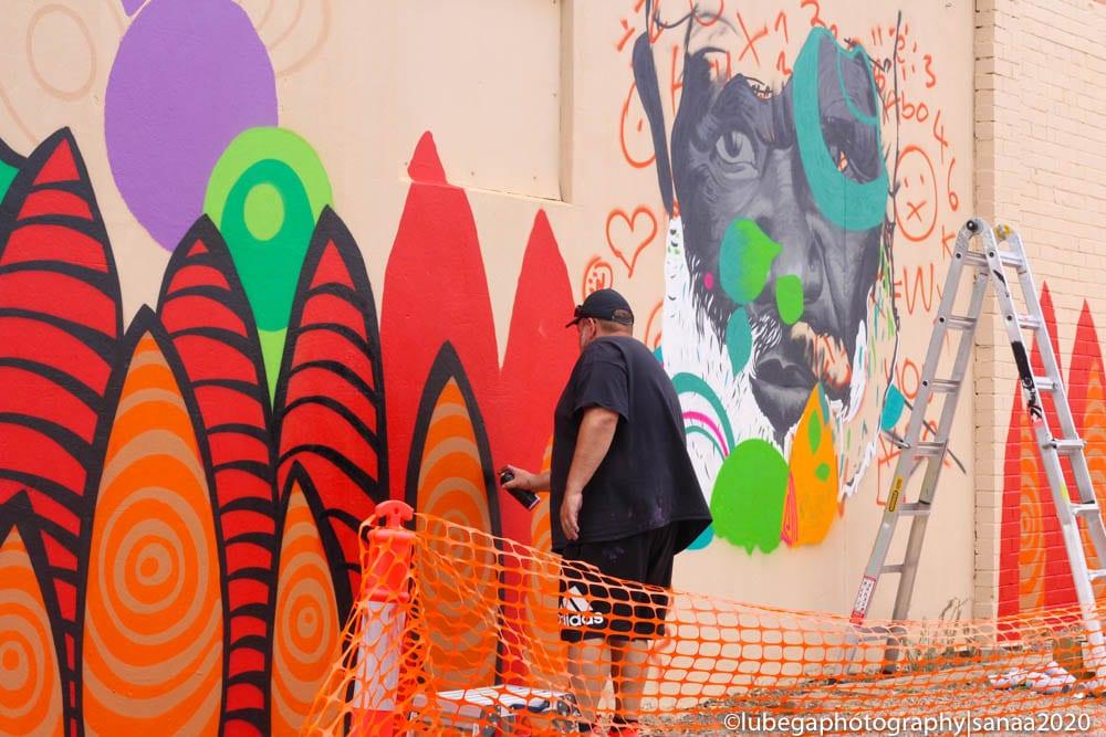 Scott Rathman mural, Sanaa Regional Tour 2020