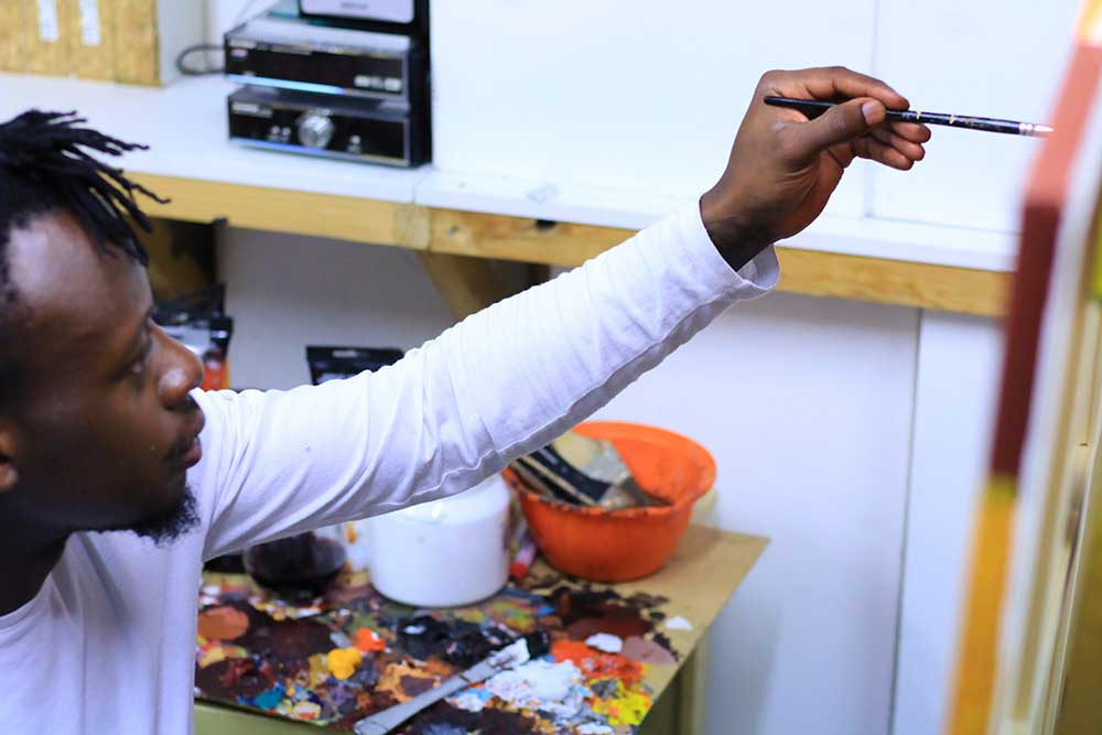 Wamala at work, Sanaa Artist Residency 2020