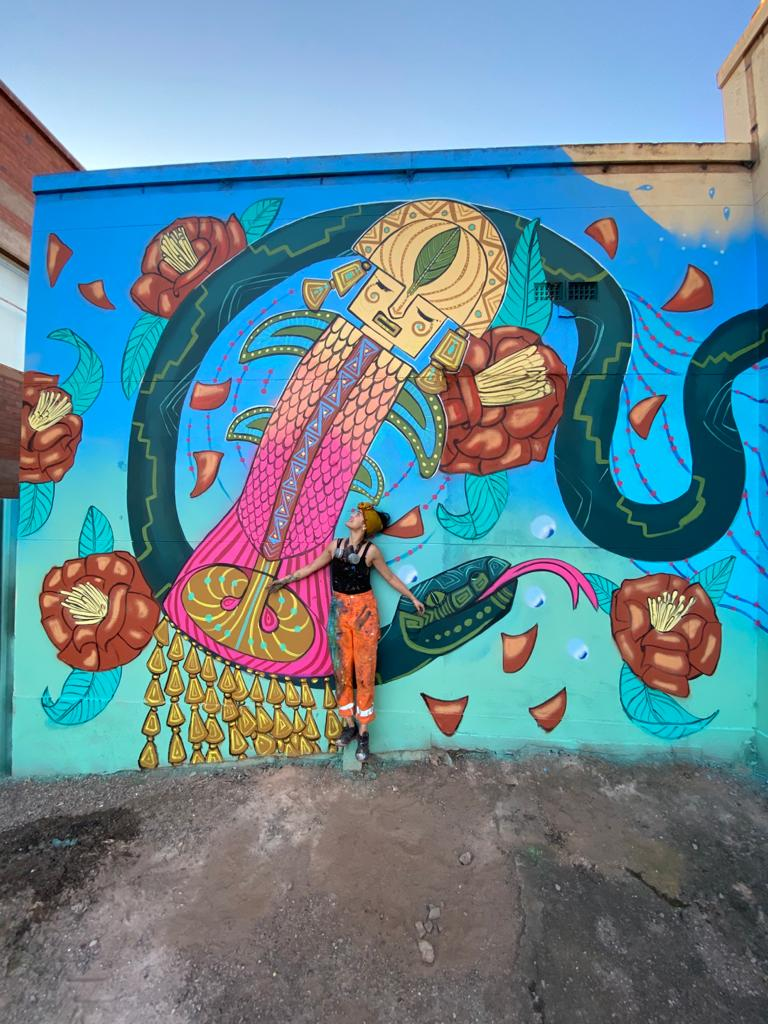 Katherine Gailer in front of her mural, Whyalla